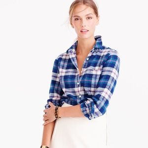 J Crew Shrunken Boy Shirt Flannel