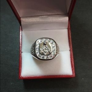 Other - New Swarovski Crystal Masonic silver Men's Ring