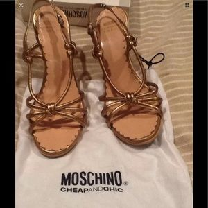 MOSCHINO BRONZE LEATHER SANDALS Size 38.5