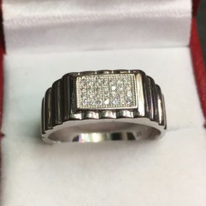 Other - New Swarovski Crystal sterling ring Men's Jewelry