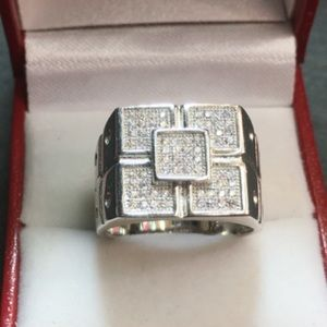 Other - New Crystal ring solid Silver Men's Jewelry Bling