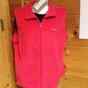 Columbia pink polar fleece vest 2 XL