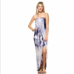 Greek Goddess Tie Dye Tube Maxi Dress