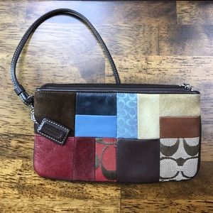 Large Coach Signature Patchwork Wristlet EUC