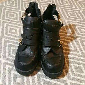 Penny Sue Shoes - Penny Sue Gold Clasp Black platform shoes