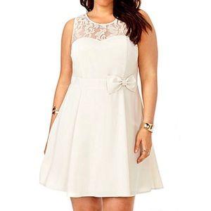 Organza Chiffon Bow Detail Sleeveless Dress Plus
