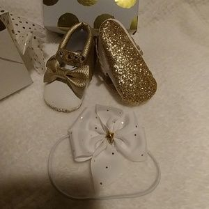 Other - White and gold baby moccasins with headband
