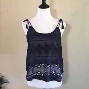 Forever 21 Tops - 🇺🇸SALE🇺🇸Navy Embroidered Tank