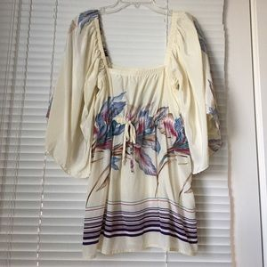 Yumi Kim Tops - Yumi Kim Printed Silk Kimono Sleeve Top Blouse M