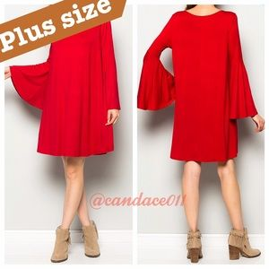 CC Boutique  Dresses & Skirts - Bell Sleeved Dress (Red) 1X-3X
