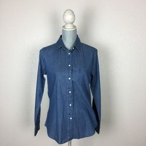 Uniqlo Tops - UNIQLO chambray long sleeve button up shirt