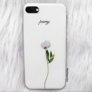 B-Long Boutique Accessories - simple peony floral white iPhone 7 phone case