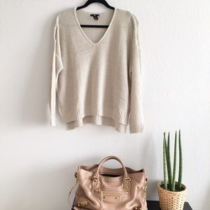 H&M silver v-neck sweater