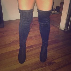 Shoes - Black suede over the knee heeled boots