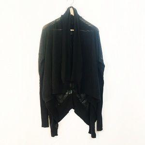 All Saints Sweaters - ALLSAINTS drapey black knit loose cardigan