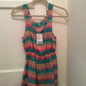Ecote Tops - *NWT* Multicolored silk sleeveless blouse
