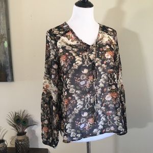 Bellino Clothing Tops - Sheer Long Sleeve Floral Blouse