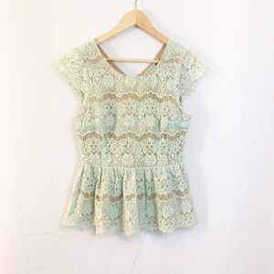 Anthropologie Tops - ANTHROPOLOGIE seafoam green lace peplum top