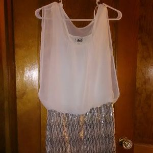 Deb Dresses & Skirts - White and silver dress
