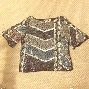 Vintage sequins multi color blouse