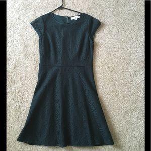 Loft dark green lace dress