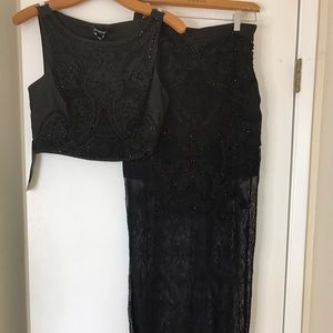 Bebe Two Piece Bejeweled skirt and crop top