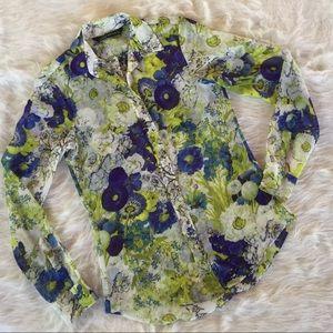 Zara Floral Long Sleeve Blouse