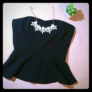 Black peplum strapless blouse forever 21 small