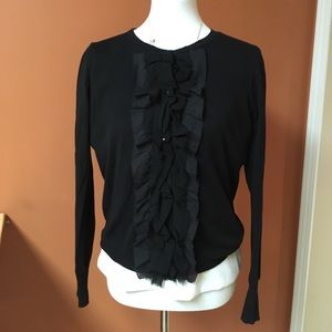 J. Crew black tuxedo cardigan- size L