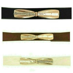 Elastic Rhinestone Embellished Bow Belt