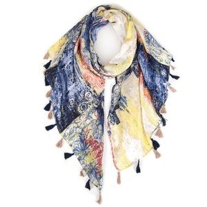 Accessories - Blue Parisan Spring Print Scarf ( Viscose )