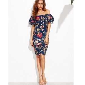Dresses & Skirts - Floral midi dress with off shoulder ruffle