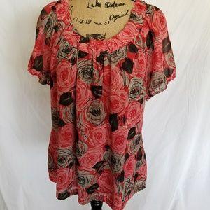 Dressy Red, Grey, & Black Apt. 9 Blouse