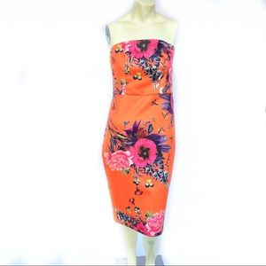 ASOS SCUBA FLORAL ORANGE MIDI strapless  DRESS 6P