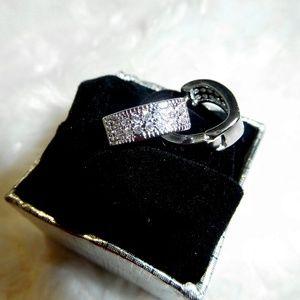 Jewelry - Cross My Crystal Heart Mini Hoops - Silver