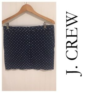 J. Crew denim polka dot mini skirt 6