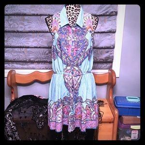 Umgee floral shirt dress Large