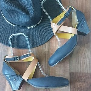 Kickers Shoes - Kickers Wooden Heel Leather Strappy Shoe
