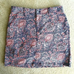 croft & barrow Pants - Navy Blue & Coral Pink Paisley Stretch Skort