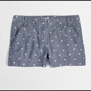 J. Crew Factory Polka Dot Chambray Shorts