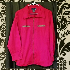 Denim & Co Jackets & Blazers - Denim & Co Red Zip Front Jacket Size 1X