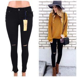 Highway Jeans Denim - Knee Ripped Frayed Black Skinny Jeans!