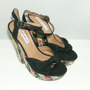 Naughty Monkey Garden floral ankle strap wedge 7.5