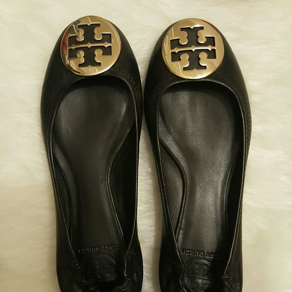 Tory Burch flats black leather size 7.5 <span class=