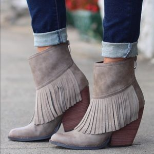 Volatile Shoes - Taupe Fringe Boho Chic Ankle Booties