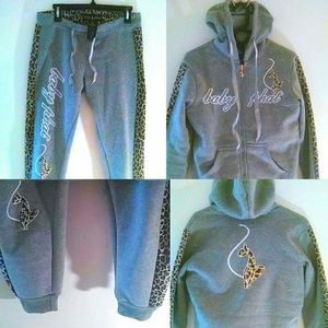 Baby Phat Other - Weekend Sale❤grey & Leopard print sweatsuit M/L