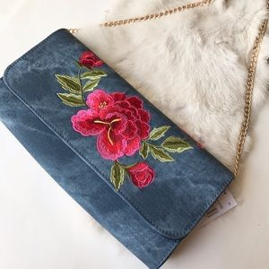 Handbags - Rose Embroided Denim Crossbody/Clutch✨🆕