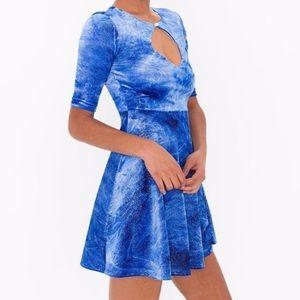 American Apparel Dresses & Skirts - Cali sun fun glitter velvet  blue skater dress