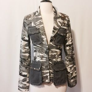 Jackets & Blazers - Unique Cotton Camouflage Beaded Trim Jacket