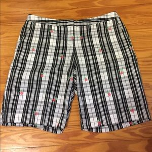 Izod Pants - Izod Black and White Pineapple shorts Sz 12